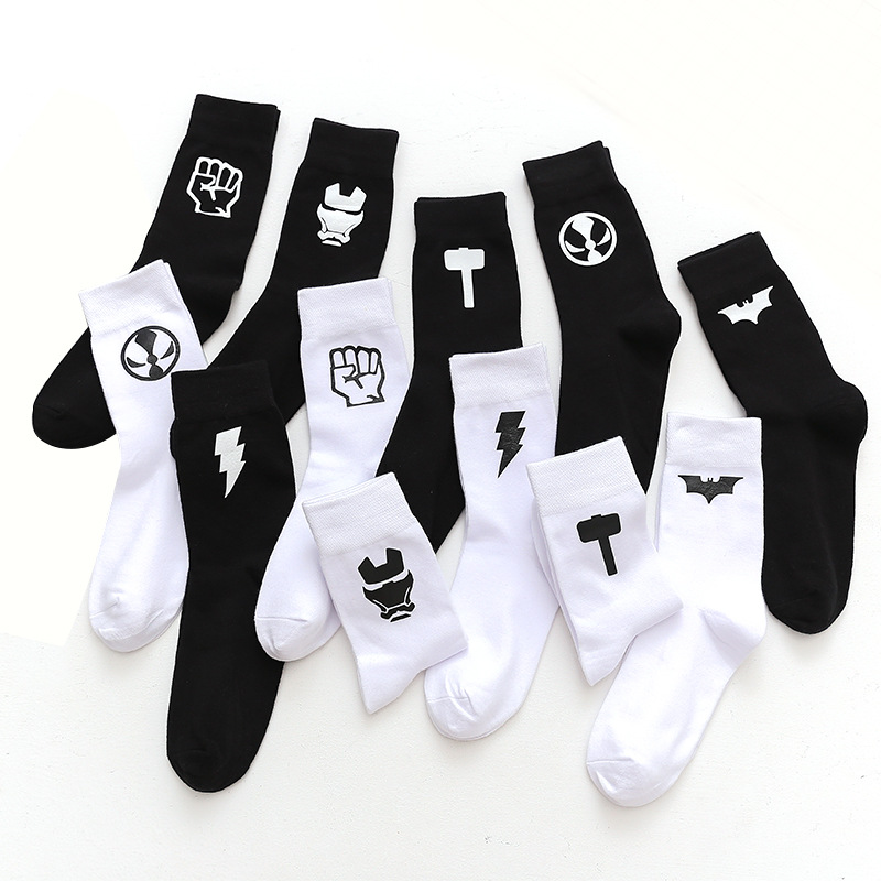 Men's Fashion Superhero Logo Black White Men's Socks Give Gifts To Good Friends Harajuku Cotton Socks Men's Street Long Socks