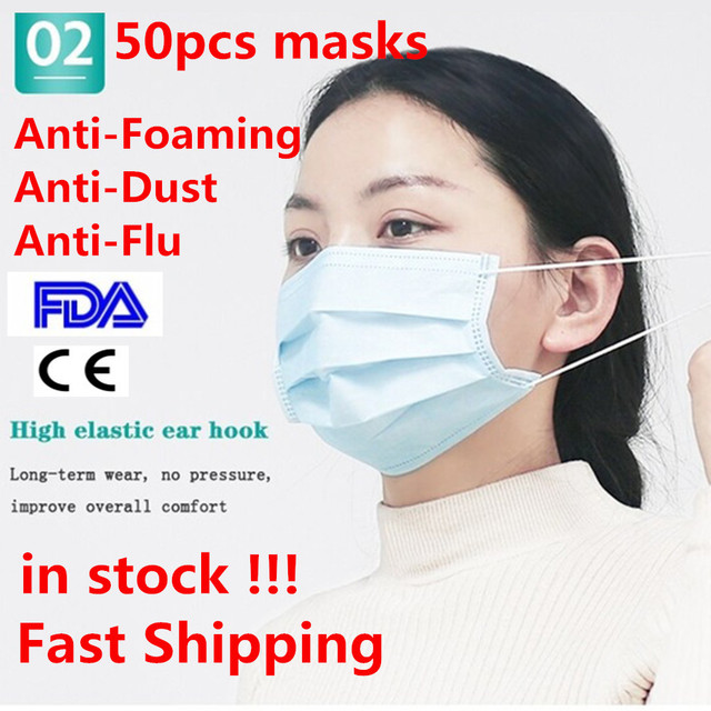 In stock! 50 Pcs Disposable Face Mask Non-woven 3 Layer Anti-Pollution Dust-Proof Haze Anti-Flu Earloop Safety Masks Pk FFP3 N95