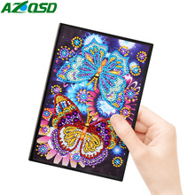 AZQSD A5 Notebook Diamond Painting Butterfly Diary Book 60 Pages 5d Mosaic Special Shaped Diy Picture Of Rhinestones