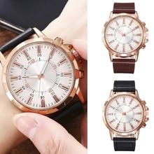 цена на Simple Men Watch Faux Leather Bracelet Pulseira Masculina Analog Quartz Fashion Watch For Men Christmas Gift Montre Homme