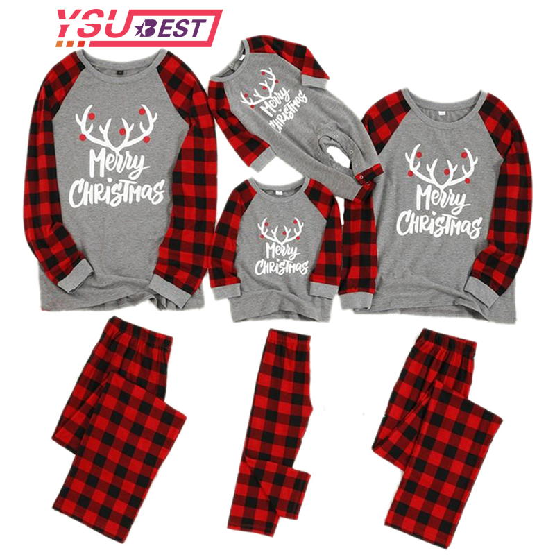 New Christmas Pajamas Kid Boy Girl Christmas Deer T Shirt Grid Pants 2PCS Family Pajamas Sleepwear Christmas Outfits Red Clothes