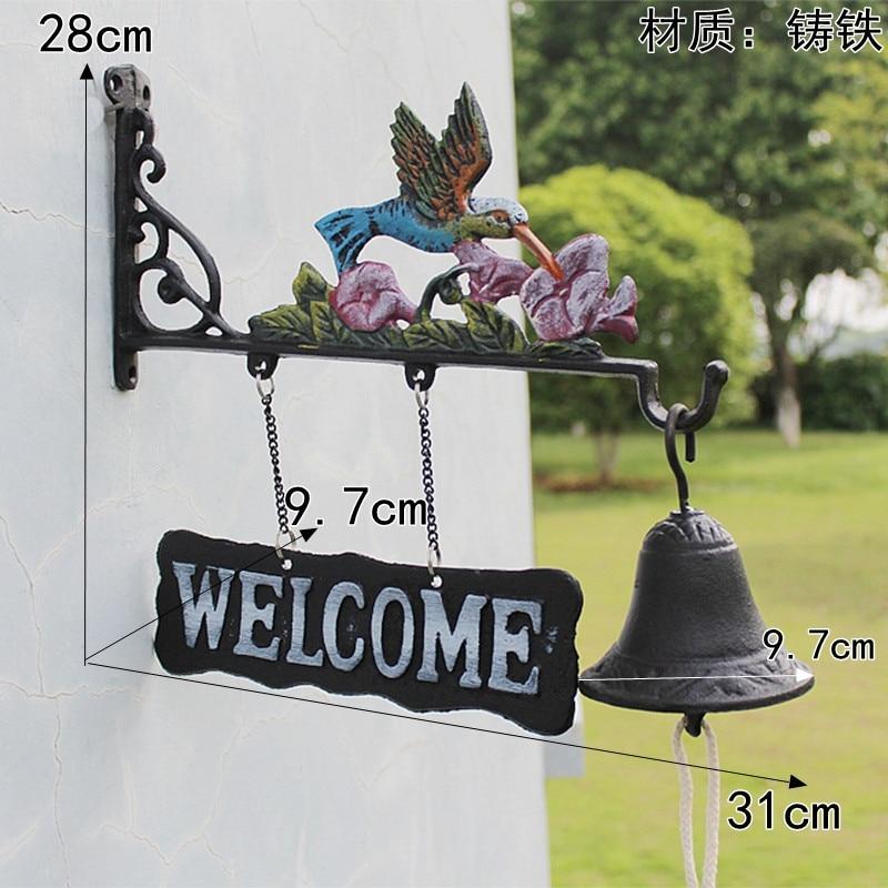 Чугунный подвесной колокольчик Колибри декоративный обеденный Звонок Птица Цветок ферма ранчо домик патио садовые ворота украшение для дв... - 6