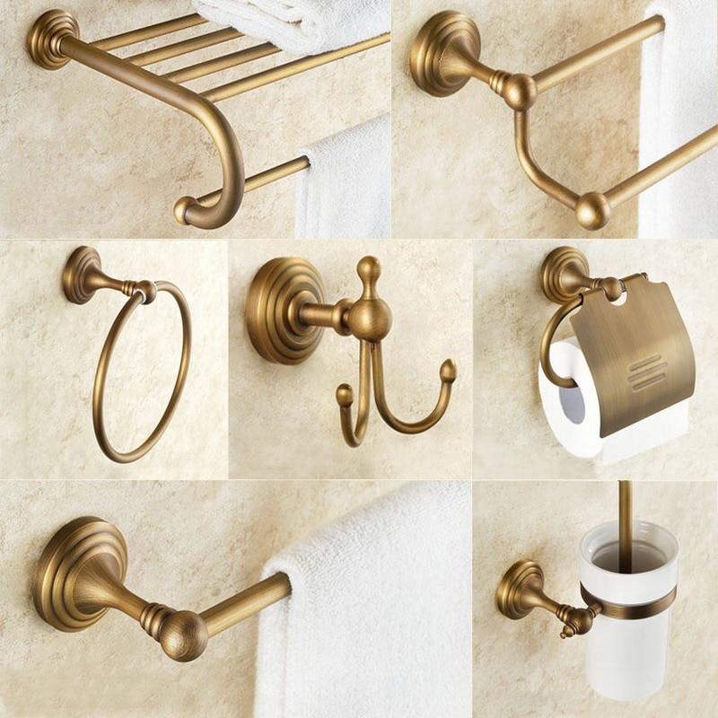 Bathroom Accessories Antique Brass Towel Ring, Paper Holder, Toilet Brush, Coat Hook, Bath Rack, Soap Dish Bathroom Hardware Set