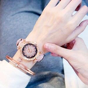 Image 5 - 2019 kadın saatler bilezik seti yıldızlı gökyüzü bayanlar bilezik İzle Casual deri kuvars kol saati Relogio Feminino