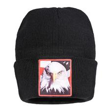 Black Beanies Hats White Sea Eagle Knitted Hat American Flag Hawk Logo Crochet Skullies Skullcap Pompom Elegant All-match Caps