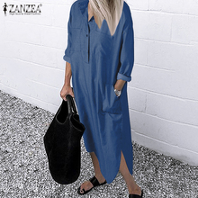 ZANZEA 2020 Women Lapel Long Sleeve Autumn Shirt Dress Cotton Split Dresses Elegant Solid Work Office Vestidos Female Tunic Robe