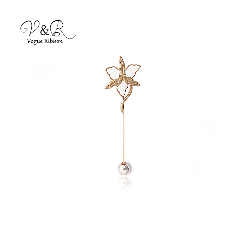 Enamel Flower Long Metal Bar Ball Brooch Pin (4)