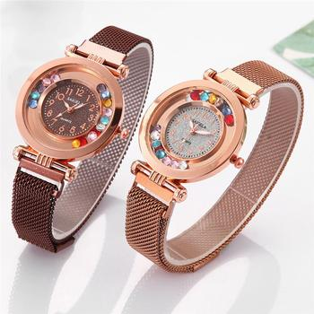 Digital Colorful Bead Scroll Surface Watches Women Luxury Fashion Watch Stainless Steel Mesh Strap Magnetic Buckle Watches Women curren stainless steel mesh strap watches women