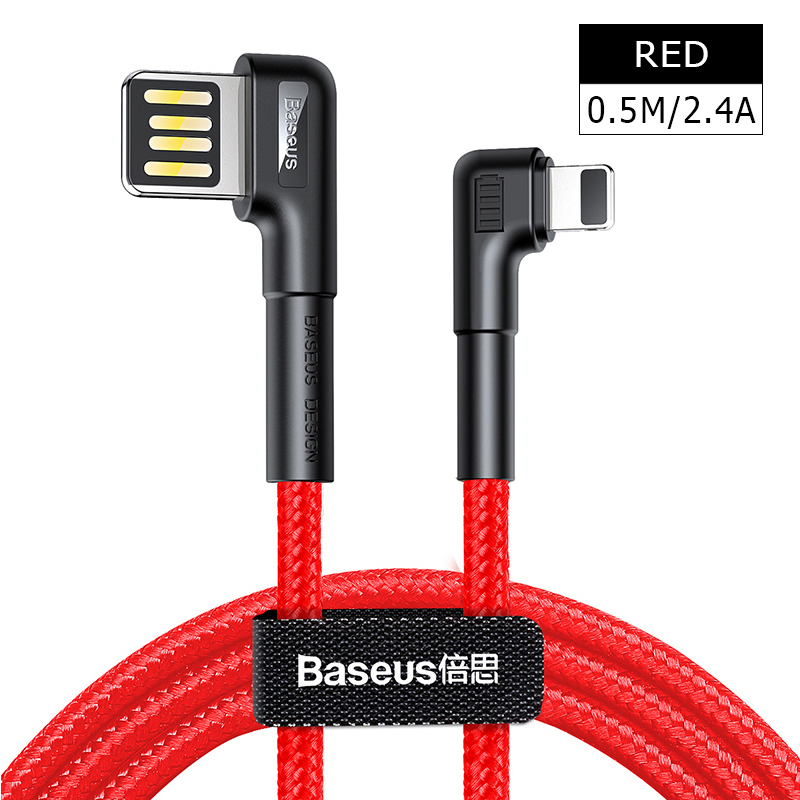 Baseus usb кабель для зарядки с двойным изгибом для iPhone 11 XS Max XR 8 Plus 2.4A быстрое зарядное устройство кабель для передачи данных USB шнур для зарядки - Название цвета: 0.5M 2.4A
