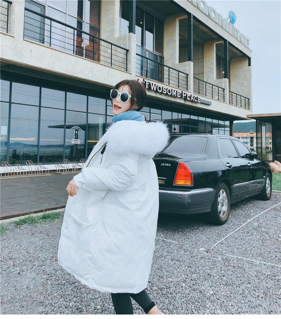 Thicken Warm Fur Collar Winter Jacket Women Casual Medium Long Hooded Coat Female Office Lady 2020 New