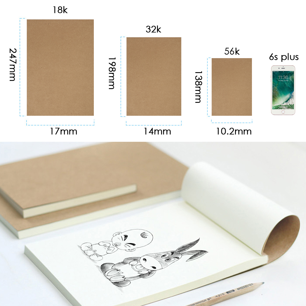80 Sheets 18K/32K/56K Blank Flipbook Kraft Cover Drawing Sketchbook Thumb Flip Books For Animation Cartoon Creation