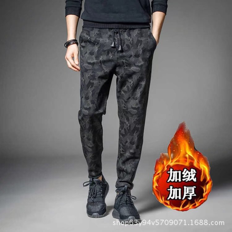 Winter Popular Brand Brushed And Thick Large Size Casual Men's Trousers Students Sports Beam Leg Athletic Pants Sweatpants Camou