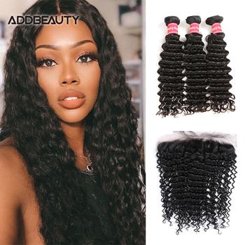 4 #215 4 HD przezroczyste zamknięcie koronki z głęboką falą brazylijskie ludzkie włosy typu Remy wiązki 13 #215 4 koronkowe przednie naturalny kolor pre-plucked tanie i dobre opinie Addbeauty Głęboka fala = 15 CN (pochodzenie) Remy włosy 3 sztuk wątek i 1 pc zamknięcia Brazylijski włosy Brazilian Deep Wave Human Hair With Closure