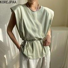 Korejpaa mujeres camiseta de verano de 2021 coreano Chic todo-fósforo redondo cuello suelto de encaje cintura adelgazamiento sólido Color volando Top de manga
