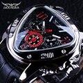 Jaragar Sport Racing Ontwerp Geometrische Driehoek Ontwerp Lederen Band Heren Horloges Top Brand Luxe Automatische Polshorloge