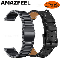 2pcs Metall strap + Echtes Leder band Für Samsung Galaxy uhr 3 45mm 41mm/Aktive 2 46mm/42mm Getriebe S3 Frontier 20 22mm armband