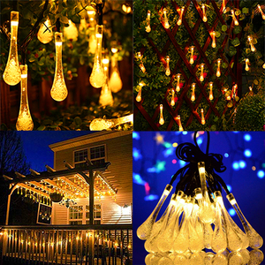 Image 5 - Rantion 30/100 LED Solar String Lights Waterproof Raindrop String Fairy Lights for Patio Garden Party Lawn Holiday Decorations