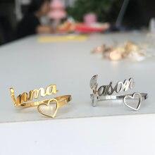 Персонализированные кольца любовь сердце имя кольцо Письмо ювелирные
