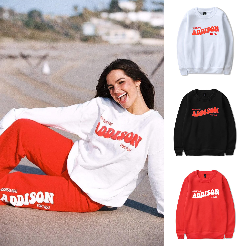 ADDISON RAE: ADDISON FOR YOU WHITE CREWNECK Unisex Sweatshirts Harajuku Hoodie Korean Loose Sweater Tops Ins Tide Sexy Tracksuit