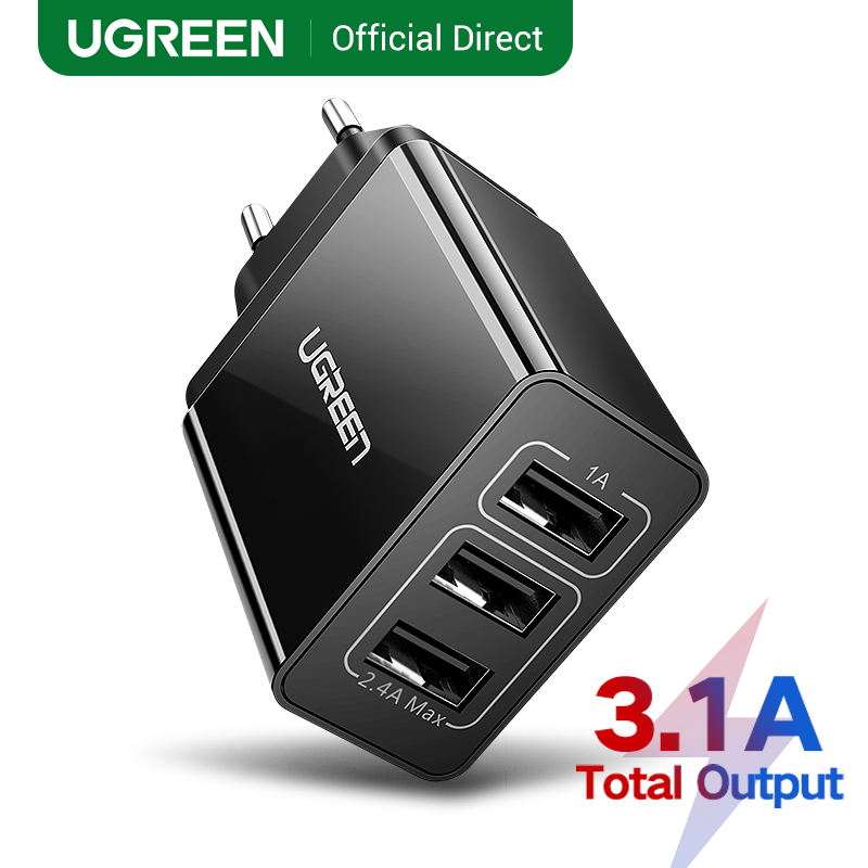 Ugreen 5V 3.1A USB Charger for iPhone X 8 7 iPad Fast Wall Charger EU Adapter for Samsung S9 Xiaomi Mi 8 Mobile Phone Charger(China)