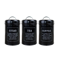 3Pcs Multifunctional Storage Tanks Canister Tea Coffee Sugar Tin Jar Metal Container Can Kitchen