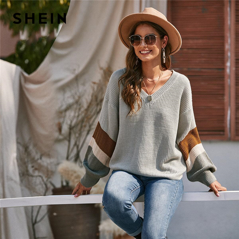 SHEIN V Neck Drop Shoulder Colorblock Casual Sweater Women Tops Autumn Winter Streetwear Long Sleeve Basic Ladies Sweaters
