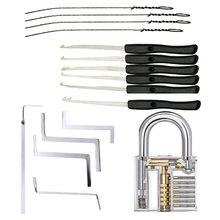 Ferramentas de serralheiro prática kit de bloqueio transparente com chave quebrada extrator chave ferramenta remoção ganchos ferramenta picareta