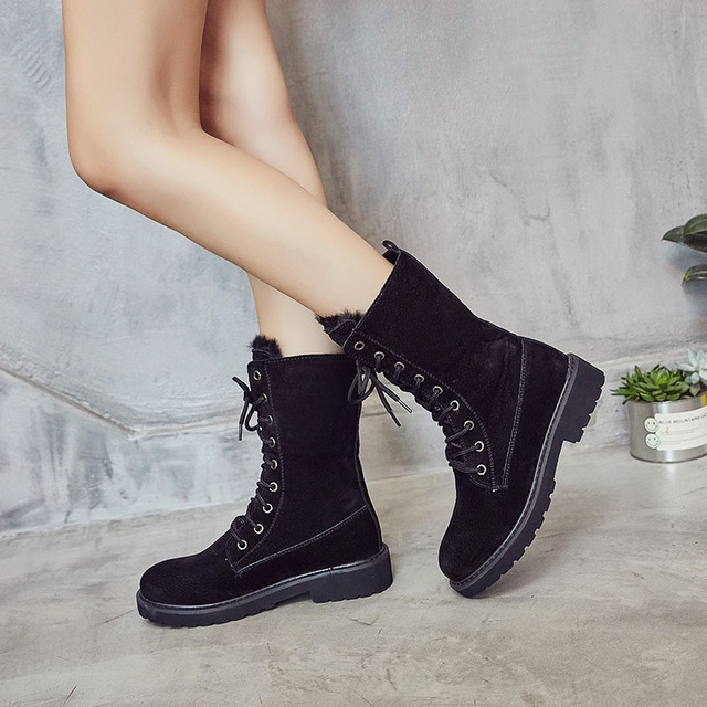 Ladies Leather Winter Mid Calf Boots With Plush Fur
