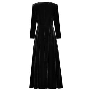 Image 4 - Abbigliamento donna autunno inverno tinta unita nero/vino rosso velluto scollo a v bottoni frontali abito a vita alta a metà polpaccio