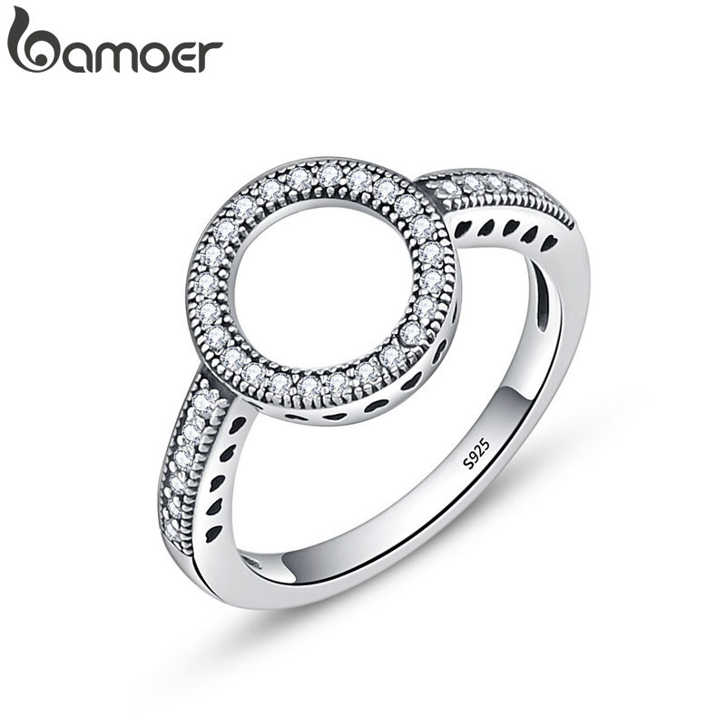 BAMOER 100% Genuine 925 Sterling Silver Forever Clear Black CZ Circle Round Finger Rings for Women Jewelry Christmas Gift SCR041(China)