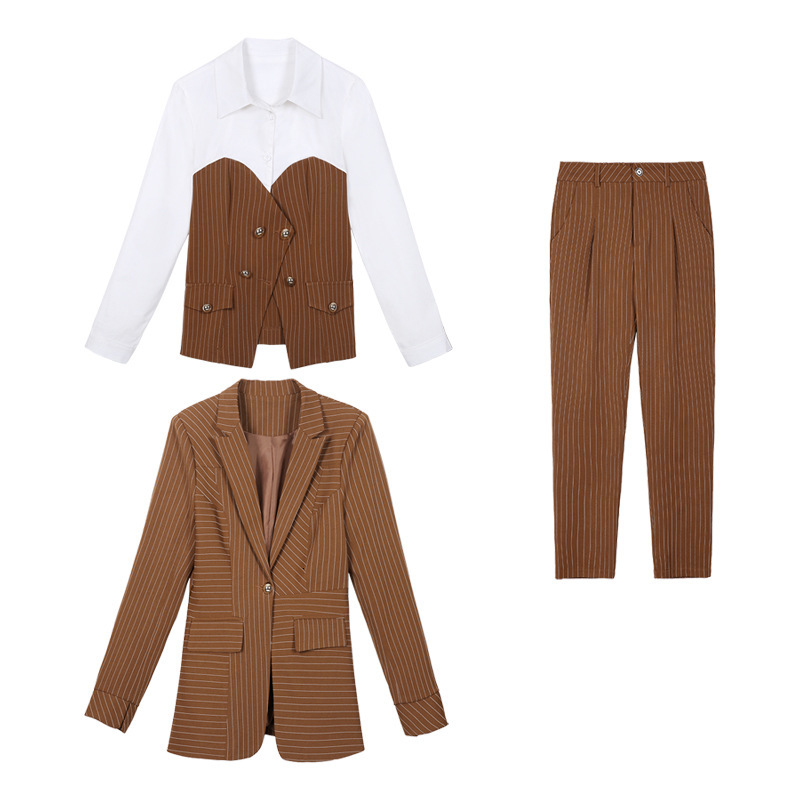 Women's Female Single Button Suit Striped Jacket and Pants Shirt Office Girl Set Feminino Work Pants Suits Set 3 Piece Set 21