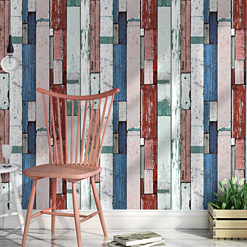 Northern European-Style Retro Nostalgic Imitation Wood-grain Board Wallpaper Bar Coffee Shop Lounge Milk Tea Clothing Store Cool