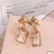 Korean Personality Creative Stud Earrings For Women Jewelry 2019 Metal Leaf Shaped Transparent Zircon Crystal