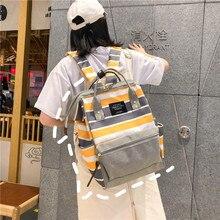 Striped style Backpack Canvas Women Shoulder Bag High capacity Teenage Girl School Backpack Bagpack Rucksack Female Mochilas
