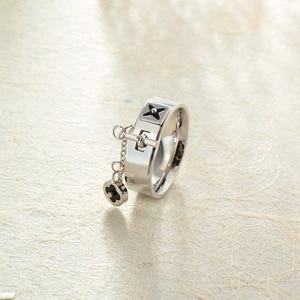 Image 4 - Baoyan Fashion Clover Flower Ring Love Gothic Promise Wedding Engagement Ring Gold/Sliver Stainless Steel Finger Rings For Women