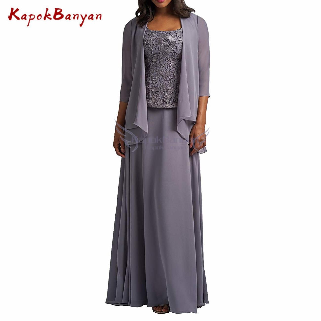 3 Pieces Mother Of Bride Dress With Chiffon Jacket A-line Lace Floor Length Mother Dress Vestidos De Fiesta De Noche