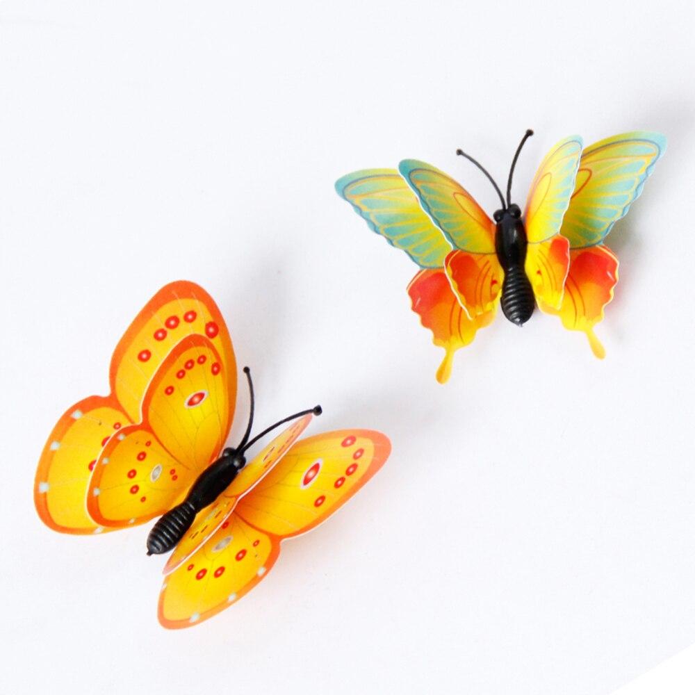 12 pçs 3d multicolorido adesivo dupla camada asas borboleta adesivo de parede magnético ímã festa crianças quarto geladeira decoração - 6