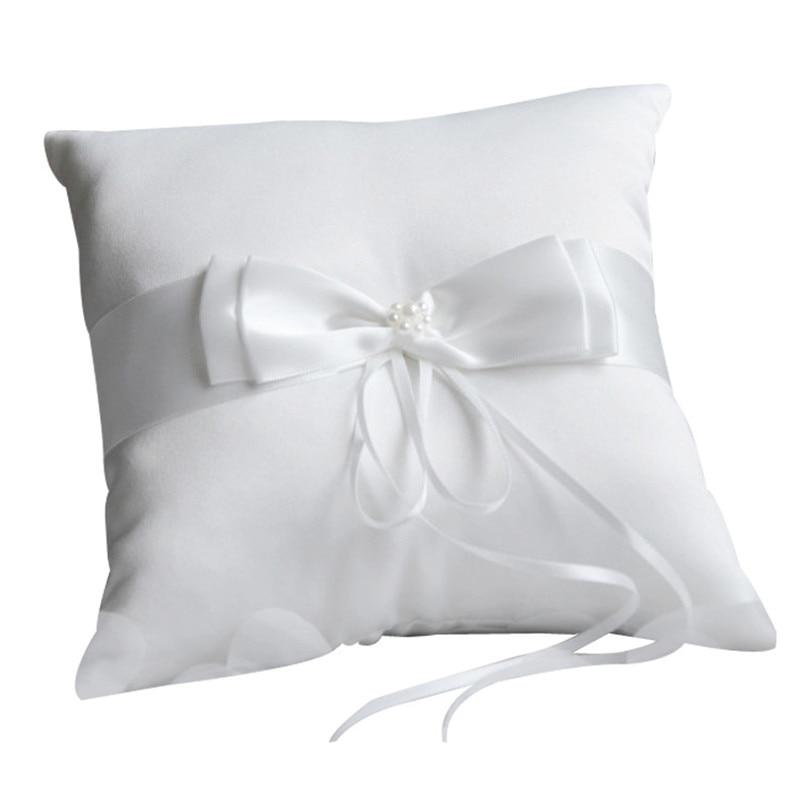 Романтическая подушка-кольцо с двойным бантом и жемчугом, карманная Подушка-кольцо для свадебной церемонии, Подушка-поднос с украшением из ...