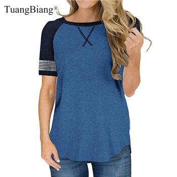 Camisetas finas de manga corta con cuello redondo de verano para mujer, camisetas holgadas a rayas de empalme para mujer, camisetas con patrón bordado de talla grande para primavera para mujer