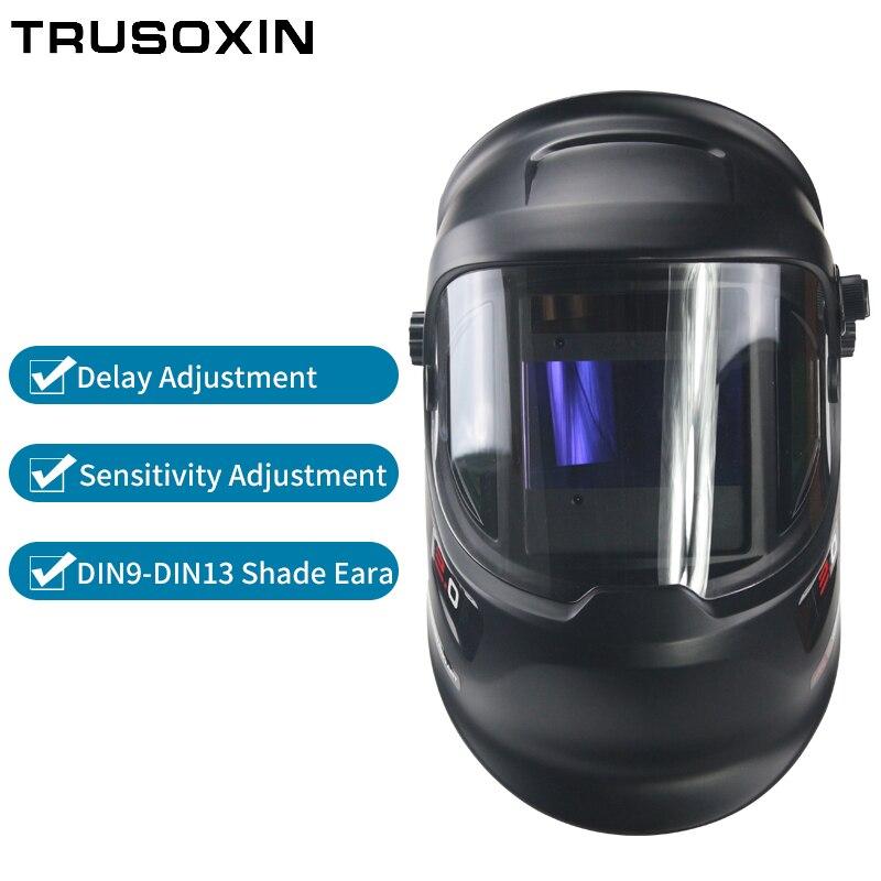 Novo grande vista 360 ° com janela lateral DIN9 DIN13 máscara de soldagem capacete de soldagem - 4