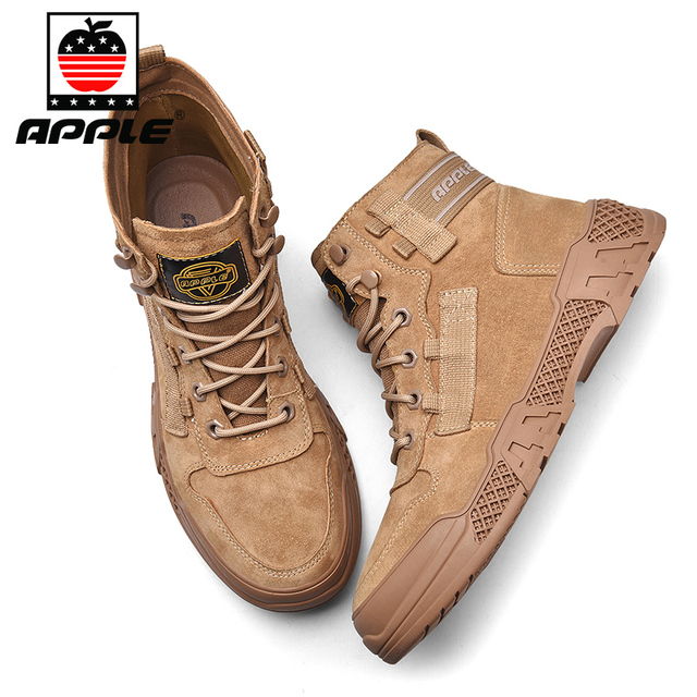 Фото мужские кожаные ботинки apple бренда новые модные высокие для