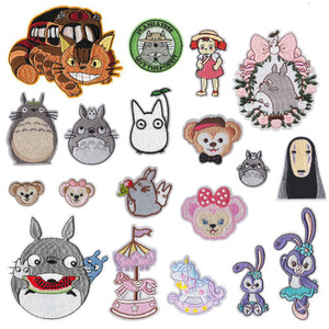 Cartoon Totoro Cat Embroidered Iron On Patch For Clothes Japan Anime DIY No Face Man Cute Sew On Patch Kids Clothes Appliques(China)