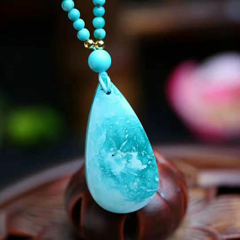 Fine JoursNeige Green Natural Stone Pendants Water Drop Pendant Necklace Lucky For Women Pendant Sweater Chain Necklace  Jewelry