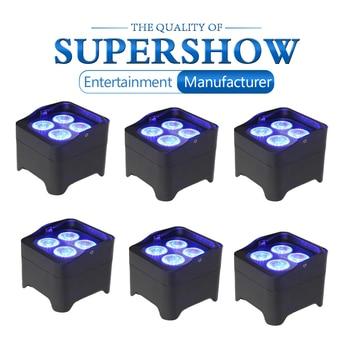 Профессиональный светильник с плоским аккумулятором, 6 шт./лот, беспроводной светодиодный прожектор с усилителем, DMX, пульт дистанционного у