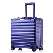 Business Boarding Bag 18-Inch PC Aluminium Frame Universal Wheel Hard-Side Suitcase Luggage Matte Scratch-Resistant Laptop Case