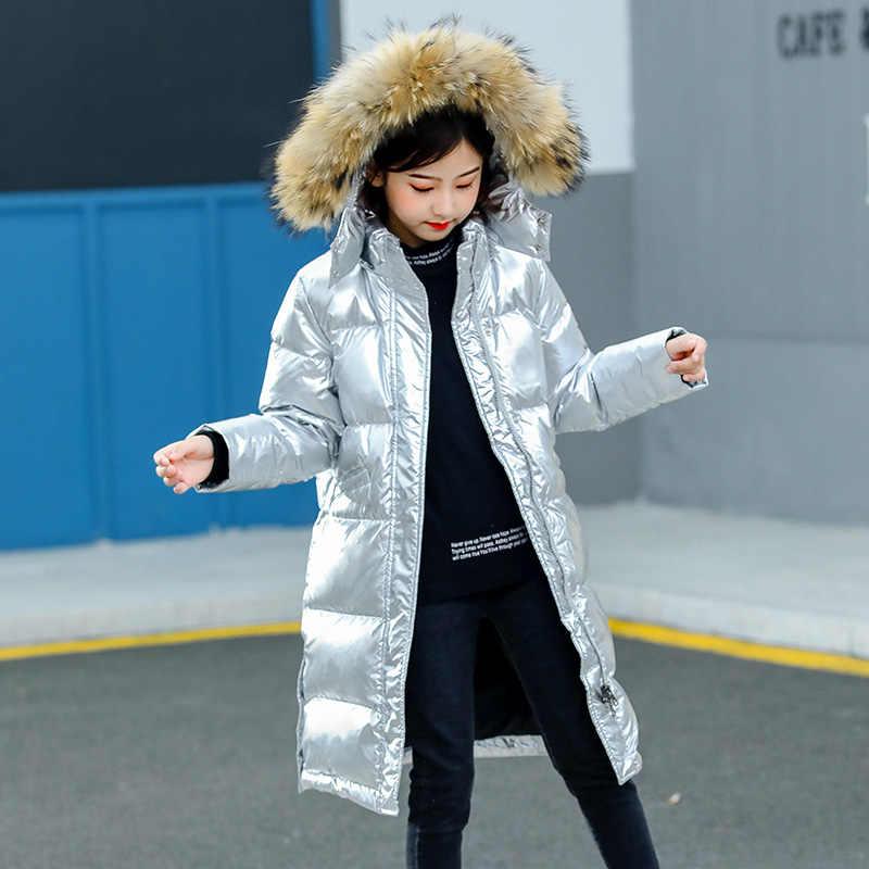 2019 moda dziewczyna dół kurtki ciepłe wodoodporne dzieci w dół parki płaszcz futro Kid nastolatek pogrubienie odzież wierzchnia na zimę