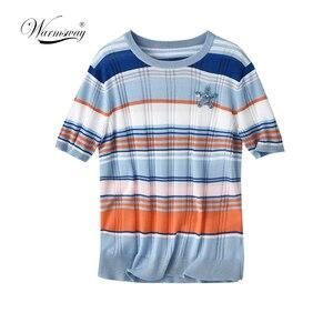 Multicolor Mock-Neck Fitted Striped Top Slim T Shirt Women Summer Short Sleeve Elegant Tshirt Topst B-051