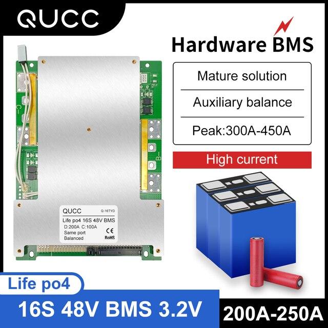 Qucc Lifepo4 48 فولت BMS 16S 200A 250A سيارة كهربائية موتور ليثيوم الحديد الفوسفات عالية الحالية الإفراط في الشحن لوح حماية التعادل