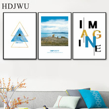 Nordic Simple Art Wall Painting Picture Coastline Landscape Home Printing Poster for Living Room  AJ00459