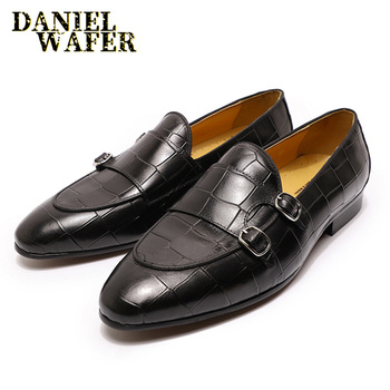 Luxury Men Loafers Shoes Brown Black Double Monk Strap Slip On Pointed Toe For Men Office Wedding Dress Casual Shoes Men Leather